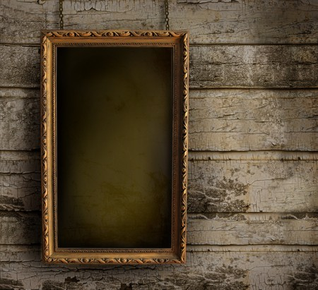 antique mirror: Old frame against a grungy, peeling painted wall