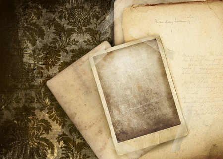 textured paper background: Vintage floral background with old papers and photos Stock Photo