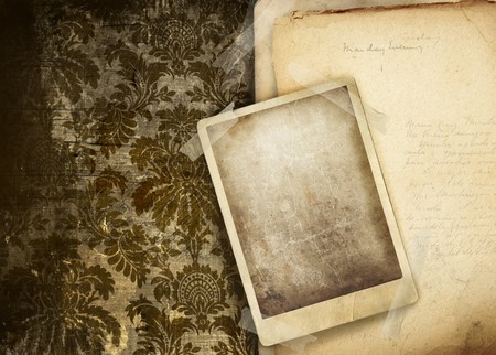 old photo: Vintage floral background with old papers and photo