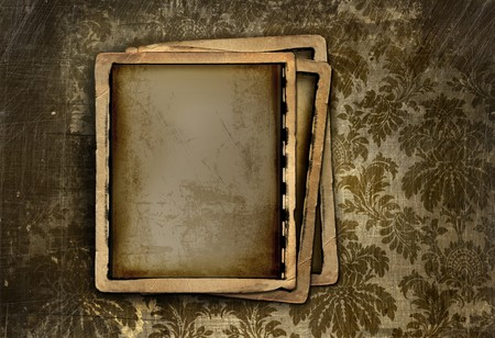 old photo: Vintage photo frame on grungy floral background Stock Photo