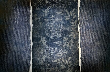 fabric textures: Grungy denim with faded floral effect background