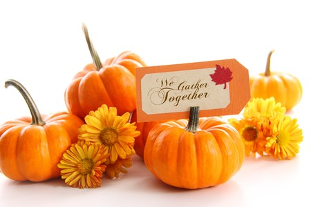 Small pumpkins with chrysanthemums and table card photo