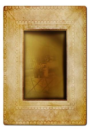 edges: Vintage photo frame against white background
