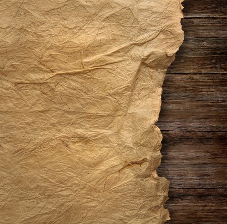 wood texture: Closeup of  wrinkled parchment paper Stock Photo