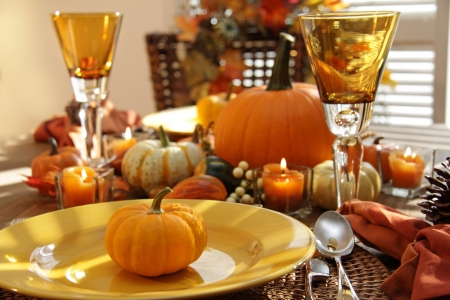 Place settings ready for thanksgiving photo