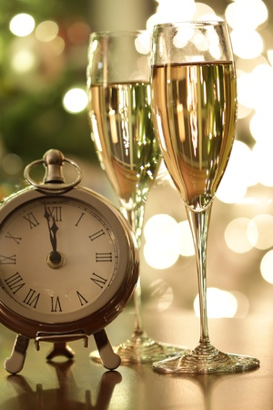 Countdown to New Years celebrations with champagne photo