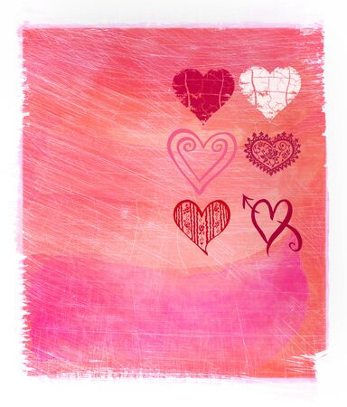 Abstract pink watercolor background with hearts Stock Photo - 8602827