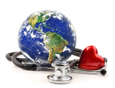 stethoscope: Stethoscope with globe on a white