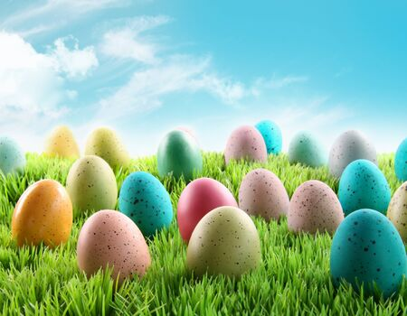 Colorful Easter eggs in a field of grass with blue sky
