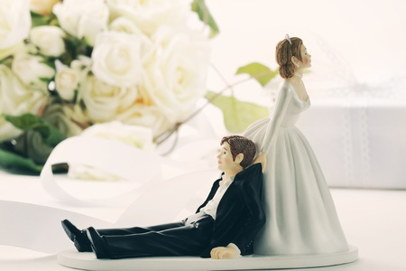Closeup of whimsical wedding cake figurines on white
