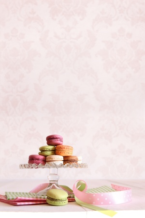 high tea: French macaroons on dessert tray with vintage feeling Stock Photo