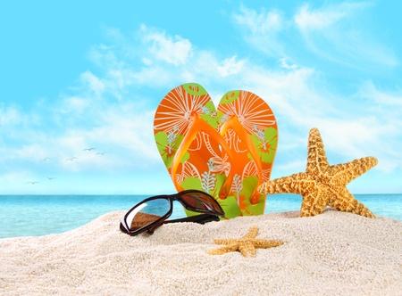 sandalia: Par flip flops en la arena con estrellas de mar