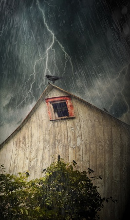 Spooky old barn with crows on a stormy rainy night Stock Photo