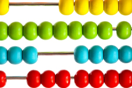 early education: Closeup of bright  abacus beads on white background  Stock Photo
