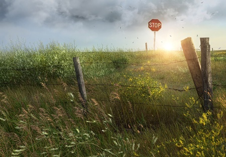 Old country fence on the prairies in Saskatchewan Stock Photo - 10413479