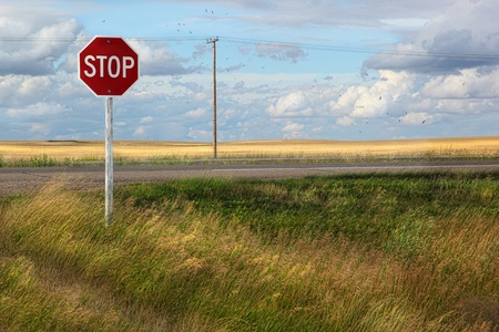 danger: Rural stop sign on the prairies in Saskatchewan