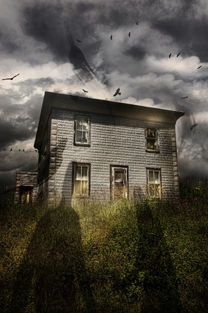 Old abandoned house with flying ghosts photo