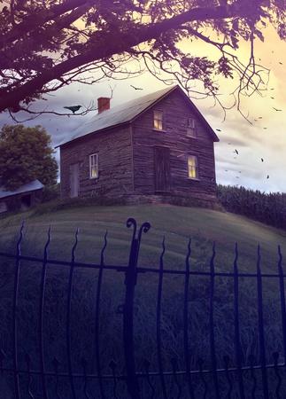 Verlaten spookhuis op een heuvel Stockfoto