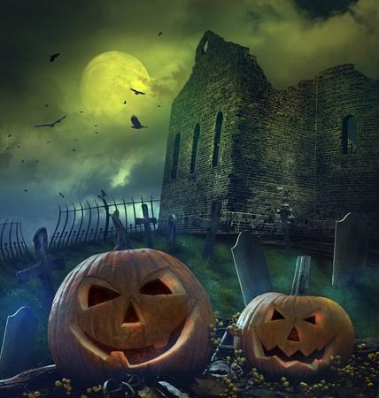 graveyard: Pumpkins in graveyard with church ruins