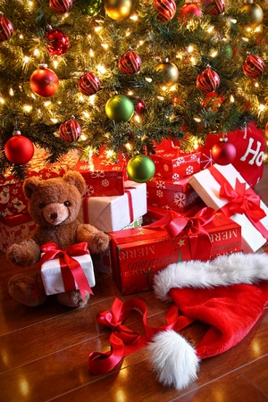 Gifts under the tree for Christmas day photo