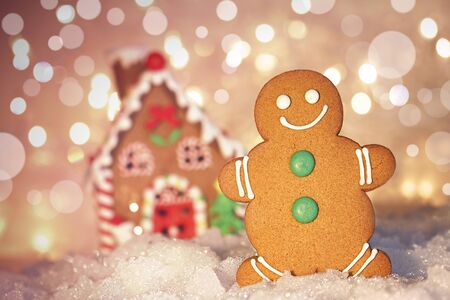 Gingerbread man cookie standing in snow beside house  photo