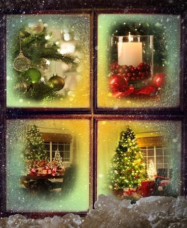 雪に覆われた木製の窓を通して見たクリスマス シーンのビネット