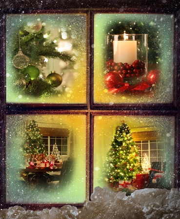 Vignettes of Christmas scenes seen through a snowy wooden window