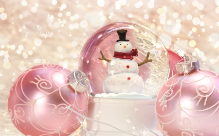 Snow globe with pink ornaments with sparkle background