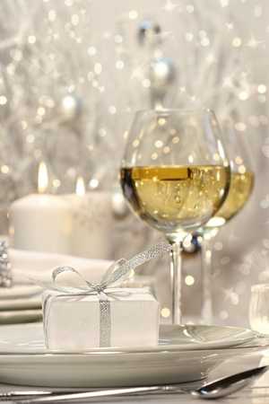 white wine: Silver ribbon gift with festive holiday background