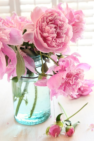 Pink peonies in glass jar on table photo
