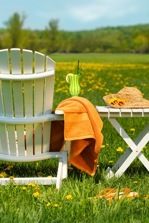 Adirondack silla en la hierba lista para relajarse en el exterior