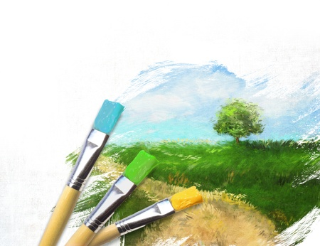 finished: Artist brushes with a half finished painted canvas of rural landscape Stock Photo