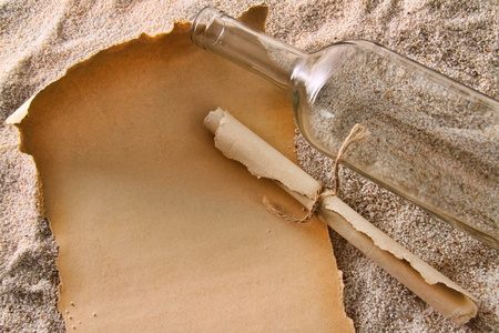 message bottle: Blank paper messages from a bottle in sand