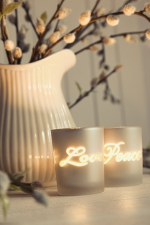 Meditation votive candles creating a relaxing warm atmosphere photo
