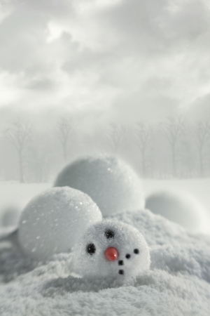 Broken snowman in snowy background Archivio Fotografico