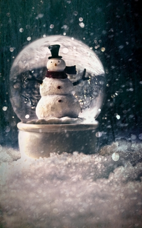 Snow globe in a snowy winter setting photo