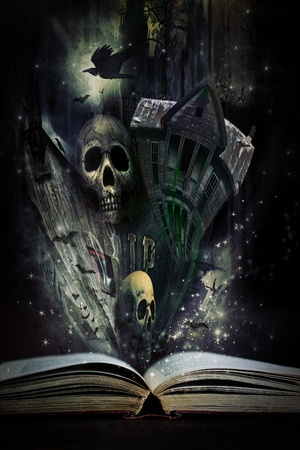 woodland  horror: Open story book with Halloween stories coming alive