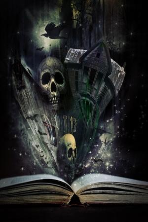 Open verhaal boek met Halloween verhalen komen tot leven
