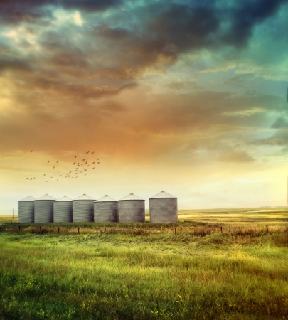 Prairie grain silos in late summer Stock Photo