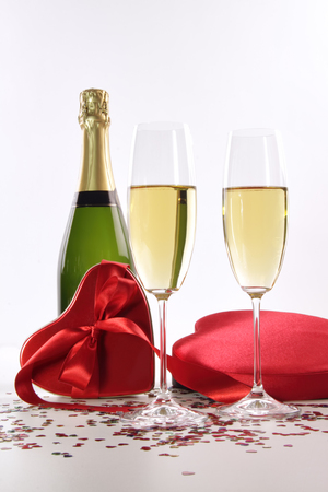 Champagne and chocolates for Valentine s Day photo