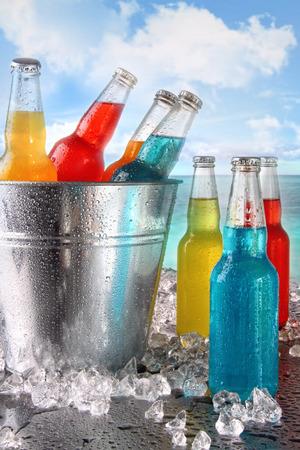 Bebidas frescas del verano en un cubo de hielo en la playa
