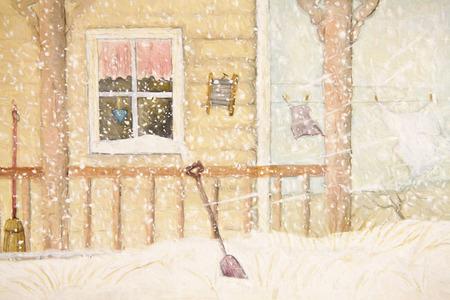 物干し用ロープ、デジタル式に変わったと雪の中でフロント ・ ポーチ
