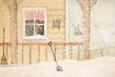 Front porch in snow with clothesline, digitally altered photo
