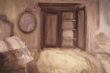 altered: Oil painting of a bedroom, digitally altered