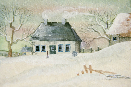 Old house in the snow, painted digitally photo