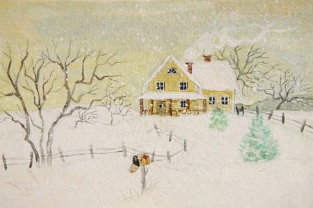 Winter schilderij van huis met brievenbus, digitaal veranderd