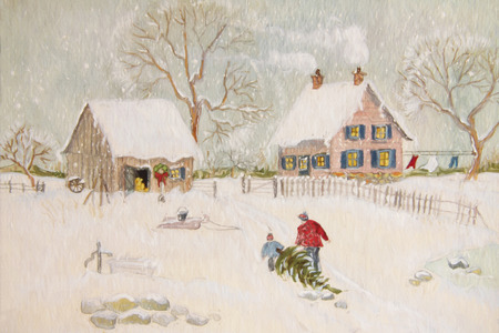 Winter scene of a farm with people, digitally altered
