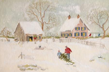 paysage hiver: Sc�ne d'hiver d'une ferme avec des gens, digitalement chang�
