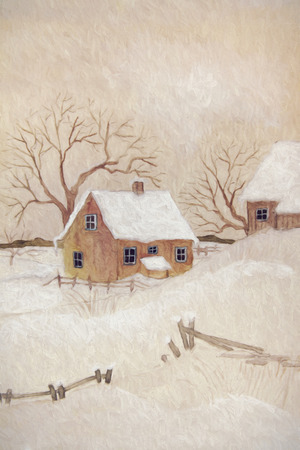 Winter scene with farmhouse, digitally altered photo