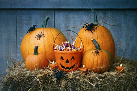 spider: Pumpkins, spiders and Halloween candy on straw Stock Photo